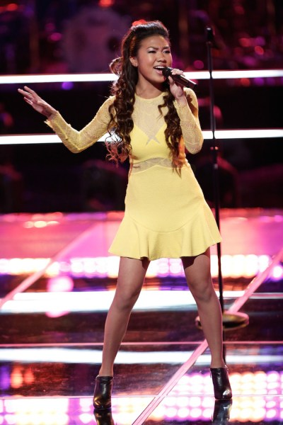 """THE VOICE -- """"Knockout Rounds"""" Episode 710 -- Pictured:  Katriz Trinidad -- (Photo by: Tyler Golden/NBC)"""