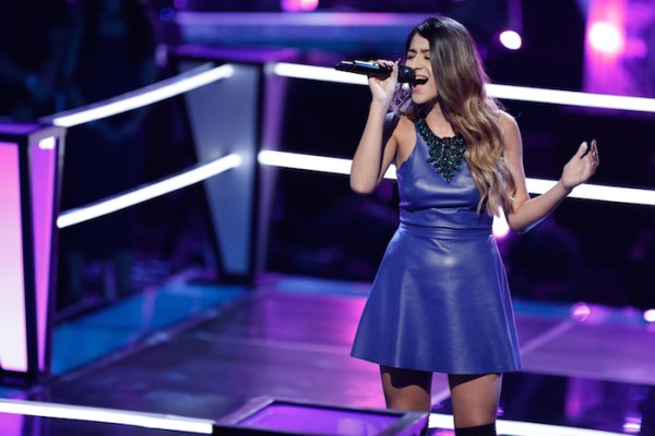 "THE VOICE --  ""Battle Rounds"" Episode 709 -- Pictured: Mia Pfirrman -- (Photo by: Tyler Golden/NBC)"