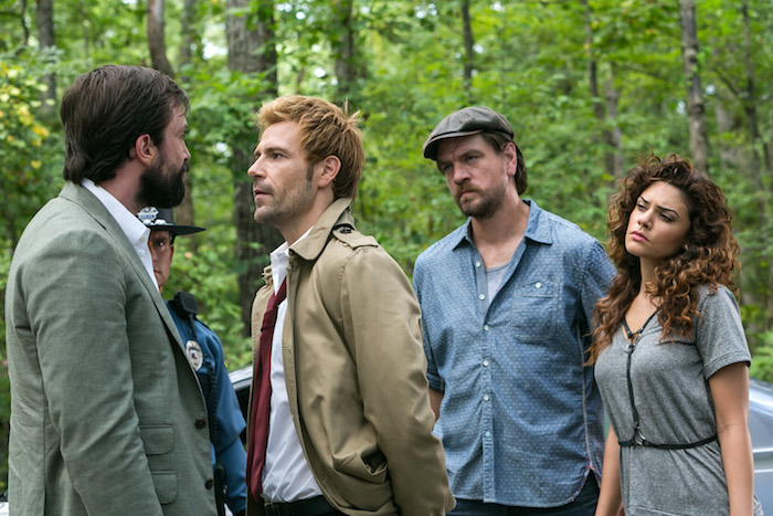 "CONSTANTINE -- ""Danse Vaudou"" -- Pictured: (l-r) Emmett Scanlan as Jim Corrigan, Matt Ryan as John Constantine, Charles Halford as Chas, Angelica Celaya as Zed Martin -- (Photo by: Tina Rowden/NBC)"