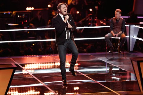 "THE VOICE -- ""Knockout Rounds"" Pictured: (l-r) Luke Wade, Taylor Phelan -- (Photo by: Tyler Golden/NBC)"