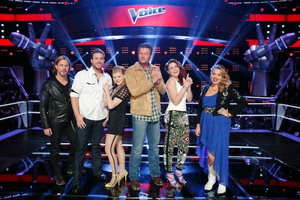 THE VOICE -- Knockout Rounds - Pictured: (l-r) Craig Wayne Boyd, James David Carter, Jessie Pitts, Blake Shelton, Reagan James, Taylor Brashears -- (Photo by: Trae Patton/NBC)