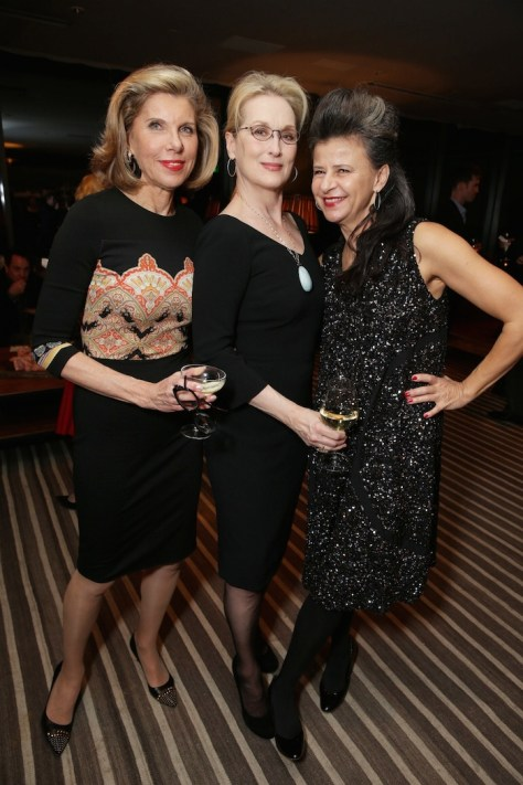 "EXCLUSIVE - Christine Baranski, Meryl Streep and Tracey Ullman joined Alan Horn, Chairman of Walt Disney Studios, hosted a holiday gathering celebrating ""Into the Woods"" on Wednesday, December 17 in Los Angeles, CA. The humorous and heartfelt musical, that has been nominated for 3 golden globe awards including Best Picture opens in theaters nationwide on December 25, 2014. (Photo by Eric Charbonneau/Invision for Walt Disney/AP Images)"