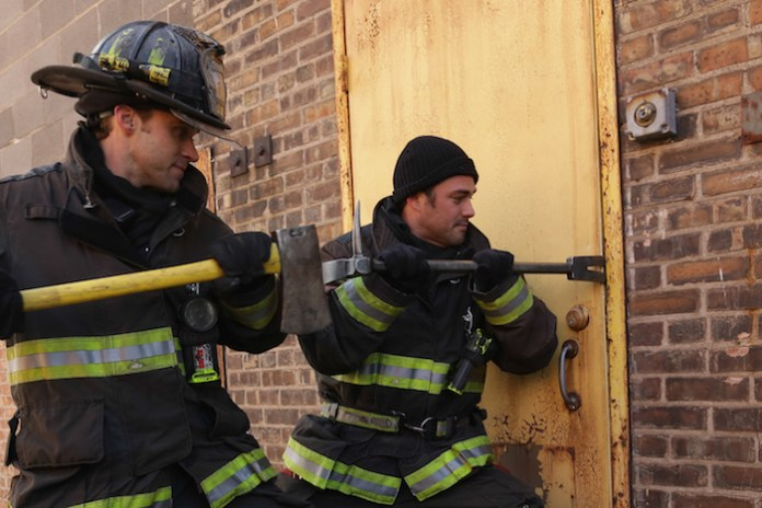"""CHICAGO FIRE -- """"Let Him Die"""" Episode 311 -- Pictured: (l-r) Jesse Spencer as Matthew Casey, Taylor Kinney as Kelly Severide -- (Photo by: Elizabeth Morris/NBC)"""