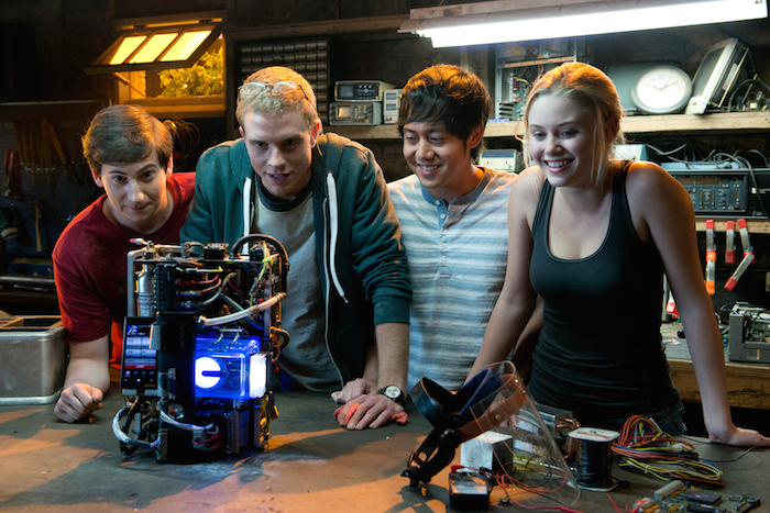 Sam Lerner is Quinn Goldberg, Jonny Weston is David Raskin, Allen Evangelista is Adam Le, and Virginia Gardner is Christina Raskin in PROJECT ALMANAC, from Insurge Pictures, in association with Michael Bay.