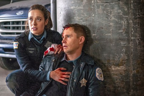 CHICAGO P.D. -- (l-r) Marina Squerciati as Kim Burgess, Brian Geraghty as Sean Roman -- (Photo by: Matt Dinerstein/NBC)