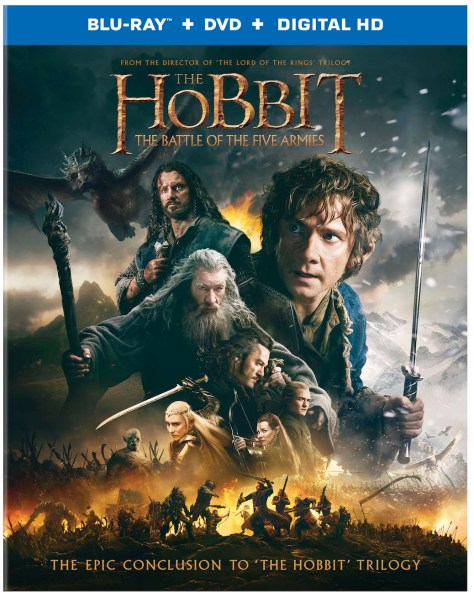 "The adventures of Bilbo Baggins come to an epic conclusion in ""The Hobbit: The Battle of the Five Armies,"" a production of New Line Cinema and Metro-Goldwyn-Mayer Pictures (MGM), arriving onto Blu-ray 3D Combo Pack, Blu-ray Combo Pack, DVD and Digital HD on March 24 from Warner Bros. Home Entertainment. From Academy Award®-winning* filmmaker Peter Jackson comes ""The Hobbit: The Battle of the Five Armies,"" the third in a trilogy of films adapting the enduringly popular masterpiece The Hobbit, by J.R.R. Tolkien. In ""The Hobbit: The Battle of the Five Armies,"" Ian McKellen returns as Gandalf the Grey, with Martin Freeman in the central role of Bilbo Baggins, and Richard Armitage as Thorin Oakenshield. The international ensemble cast is led by Evangeline Lilly, Luke Evans, Lee Pace, Benedict Cumberbatch, Billy Connolly, James Nesbitt, Ken Stott, Aidan Turner, Dean O'Gorman, Graham McTavish, Stephen Fry and Ryan Cage. The film also stars Cate Blanchett, Ian Holm, Christopher Lee, Hugo Weaving, Orlando Bloom, Mikael Persbrandt, Sylvester McCoy, Peter Hambleton, John Callen, Mark Hadlow, Jed Brophy, William Kircher, Stephen Hunter, Adam Brown, John Bell, Manu Bennett and John Tui. The screenplay for ""The Hobbit: The Battle of the Five Armies"" is by Fran Walsh & Philippa Boyens & Peter Jackson & Guillermo del Toro, based on the novel by J.R.R. Tolkien. Jackson also produced the film, together with Carolynne Cunningham, Zane Weiner and Fran Walsh. The executive producers are Alan Horn, Toby Emmerich, Ken Kamins and Carolyn Blackwood, with Philippa Boyens and Eileen Moran serving as co-producers. ""The Hobbit"" Trilogy tells a continuous story set in Middle-earth 60 years before ""The Lord of the Rings,"" which Academy Award®-winning filmmaker Peter Jackson and his team brought to the big screen in the blockbuster trilogy that culminated with the Oscar®-winning ""The Lord of the Rings: The Return of the King."" ""The Hobbit: The Battle of the Five Armies"" will be available on Blu-ray 3D Combo Pack for $44.95, Blu-ray Combo Pack for $44.95 and 2-disc DVD Special Edition for $28.98. The Blu-ray 3D Combo Pack features the theatrical version of the film in 3D hi-definition, hi-definition and standard definition; the Blu-ray Combo Pack features the theatrical version of the film in hi-definition on Blu-ray; and the DVD features the theatrical version in standard definition. All versions include a digital version of the movie in Digital HD with UltraViolet. Fans can also own ""The Hobbit: The Battle of the Five Armies"" via purchase from digital retailers. SYNOPSIS ""The Hobbit: The Battle of the Five Armies"" brings to an epic conclusion the adventure of Bilbo Baggins (Martin Freeman), Thorin Oakenshield (Richard Armitage) and the Company of Dwarves. The Dwarves of Erebor have reclaimed the vast wealth of their homeland, but now must face the consequences of having unleashed the terrifying Dragon, Smaug, upon the defenseless men, women and children of Lake-town."