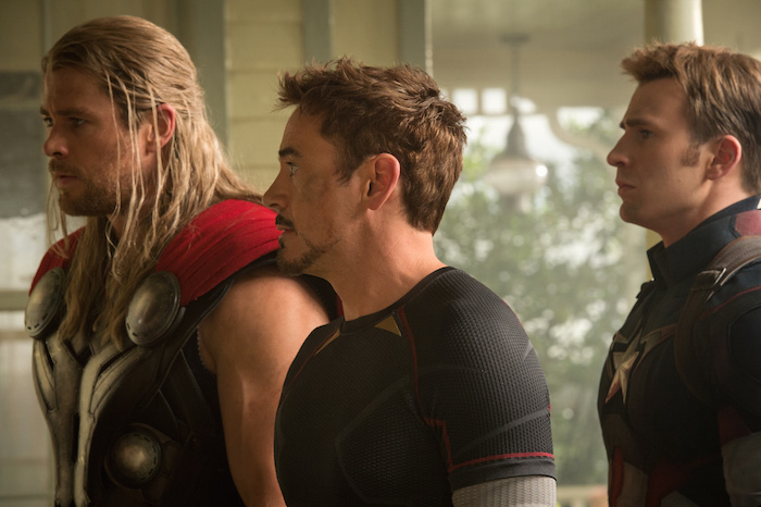 Marvel's Avengers: Age Of Ultron..L to R: Thor (Chris Hemsworth), Iron Man/Tony Stark (Robert Downey Jr.) and Captain America/Steve Rogers (Chris Evans) ..Ph: Jay Maidment..Marvel 2015