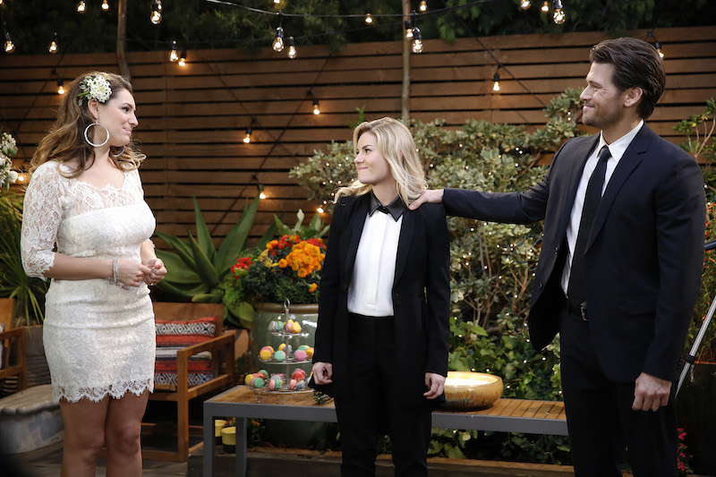 """ONE BIG HAPPY -- """"Wedlocked"""" -- Pictured: (l-r) Kelly Brook as Prudence, Elisha Cuthbert as Lizzy, Nick Zano as Luke -- (Photo by: Greg Gayne/NBC)"""