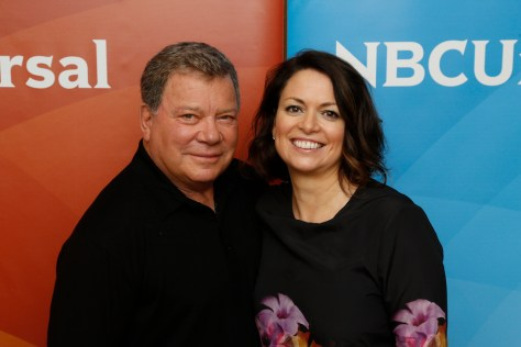 "NBCUNIVERSAL EVENTS -- NBCUniversal Summer Press Day, April 2015 -- Sprout, ""Clangers""  -- Pictured: (l-r) William Shatner, Zoe Bamsey, Executive Producer -- (Photo by: Paul Drinkwater/NBC)"