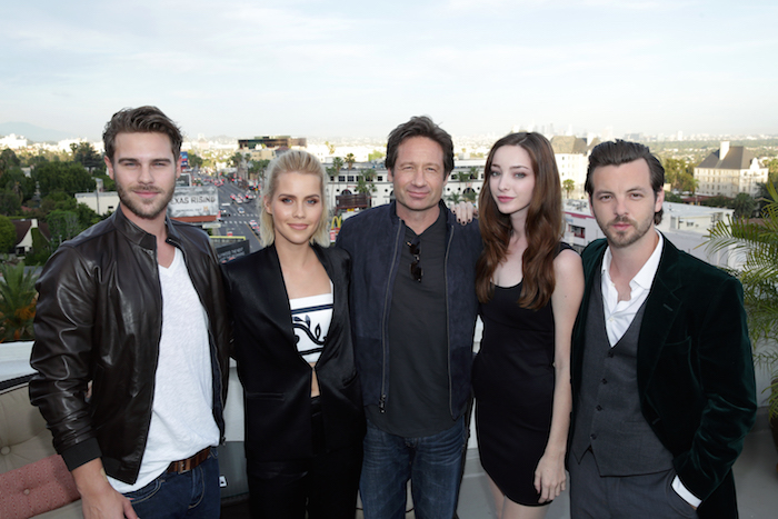 AQUARIUS -- An evening with David Duchovny and the cast and producers of Aquarius at the Chateau Marmont -- Pictured: (l-r) Grey Damon; Claire Holt; David Duchovny, Executive Producer/Star; Emma Dumont; Gethin Anthony -- (Photo by: Chris Haston/NBC)