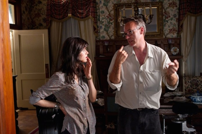 Director John Luessenhop with Alexandra Daddario on the set of TEXAS CHAINSAW 3D.  Photo credit: Justin Lubin