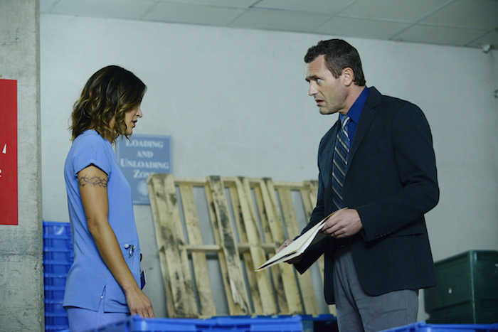 COMPLICATIONS - Pictured: (l-r) Jessica Szohr as Gretchen Polk, Jason O'Mara as Dr. John Ellison -- (Photo by: Guy D'Alema/USA Network)
