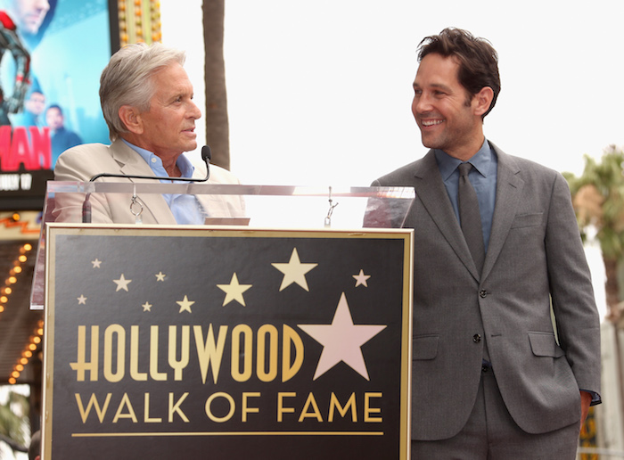 HOLLYWOOD, CA - JULY 01:  Actor Michael Douglas (L) honors actor Paul Rudd with a Star on The Hollywood Walk of Fame on July 1, 2015 in Hollywood, California.  (Photo by Jesse Grant/Getty Images for Disney)