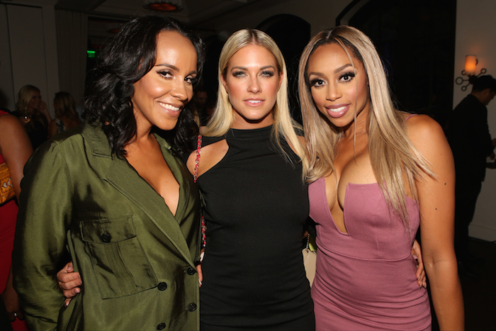 "NBCUniversal Press Tour, August 2015 -- Spago Party -- Pictured: (l-r) Ashley North, Barbie Blank, Autumn Ajirotutu, E!'s ""WAGS"" -- (Photo by: Evans Vestal Ward/NBCUniversal)"