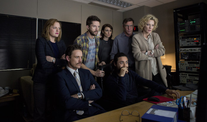 Left to right: Elisabeth Moss as Lucy Scott, David Lyons as Josh Howard, Topher Grace as Mike Smith, Natalie Saleeba as Mary Murphy, Dennis Quaid as Lt. Colonel Roger Charles, Adam Saunders as Tom and Cate Blanchett as Mary Mapes. Photo by Lisa Tomasetti © 2015 RatPac Truth LLC., Courtesy of Sony Pictures Classics