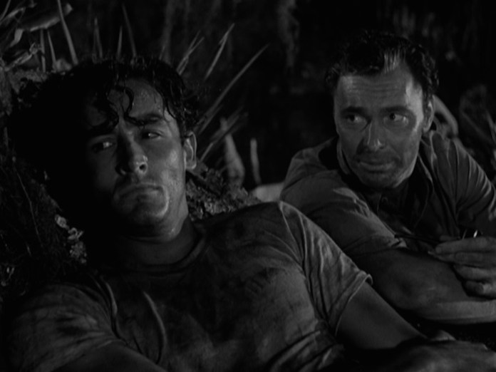 Vittorio Gassman & Barry Sullivan swamp bonding in 'Cry of the Hunted'