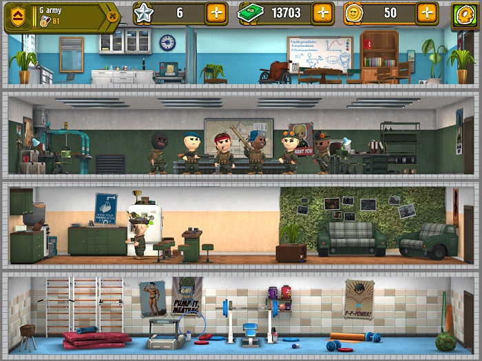 "Top to bottom - the infirmary, the crew room, the rec room (where one soldier isn't going off to battle), and the gym. - ""Pocket Troops"""