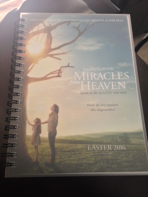 """""""Miracles from Heaven"""" notebook."""