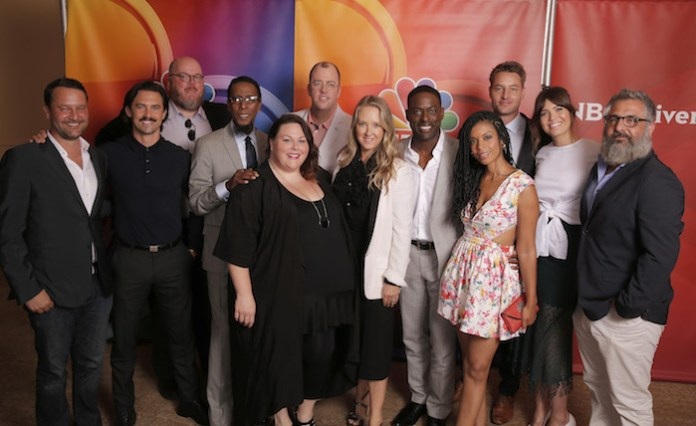 "NBCUniversal Summer Press Tour, August 2, 2016 -- NBC's ""This Is Us"" cast -- Pictured: (l-r) Dan Fogelman, Creator/Executive Producer; Milo Ventimiglia, John Requa, Executive Producer; Ron Cephas Jones, Chrissy Metz, Chris Sullivan, Jennifer Salke, President, NBC Entertainment; Sterling K. Brown, Susan Kelechi Watson, Justin Hartley, Mandy Moore, Glenn Ficarra, Executive Producer -- (Photo by: Chris Haston/NBCUniversal)"