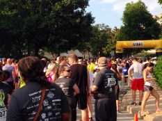 It was so packed at the starting line.