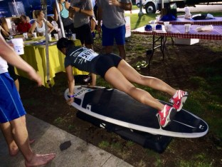 Pushups and Mountain Climber combo on the surfboard with City Surf