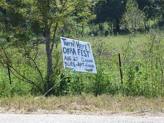 Sign to Okra Festival, Burkville AL