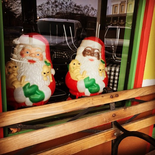 Santas in Window at Ajax Diner, Oxford MS