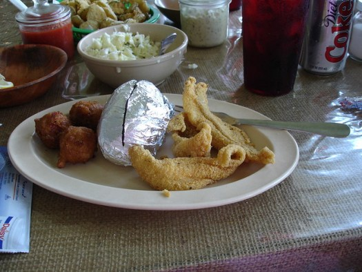 Catfish Dinner at Ezell's Fish Camp, Lavaca AL