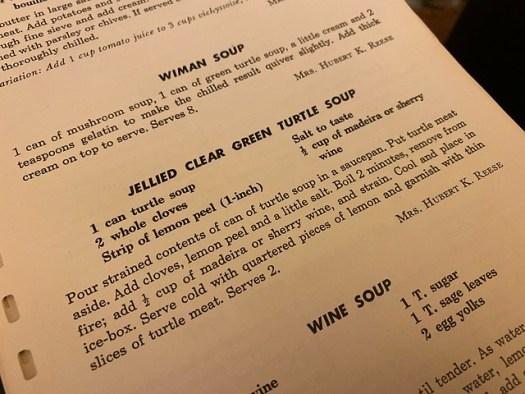 Turtle Soup Recipe, Memphis Junior League Cookbook