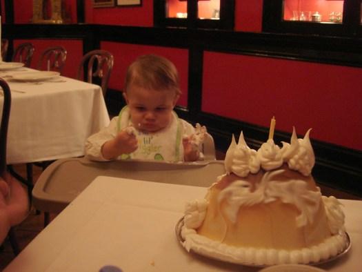 Shug's First Birthday Cake, Baked Alaska at Antoine's, New Orleans LA