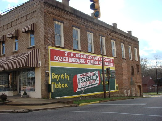 J.A. Hendrix Dry Goods, Dozier Hardware, General Merchandise. Wrigley Gum Mural. Marion, Alabama