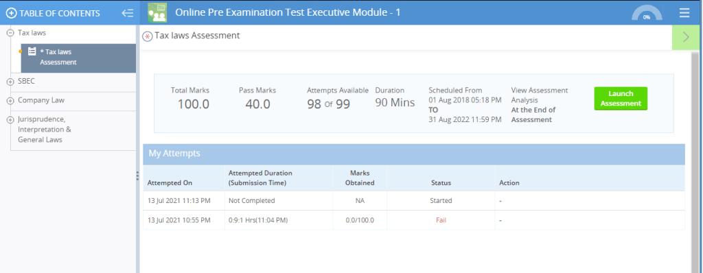 ICSI Pre Exams Exams Page