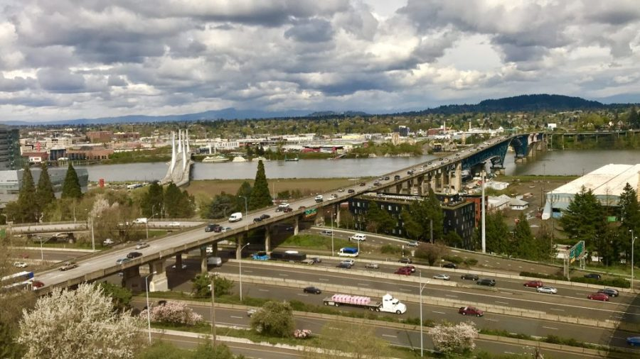 View of the bridges from atop the OHSU upper viewing deck at Portland, OR