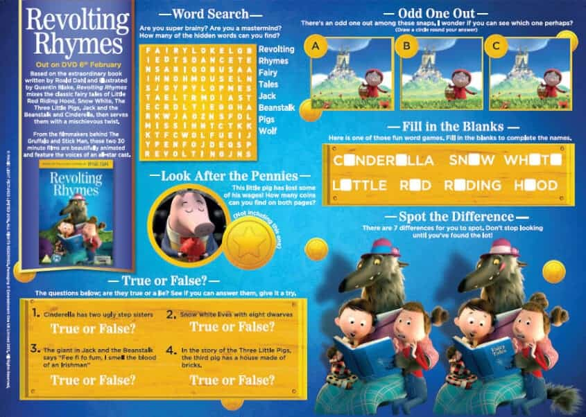 Revolting Rhymes Activity Sheet