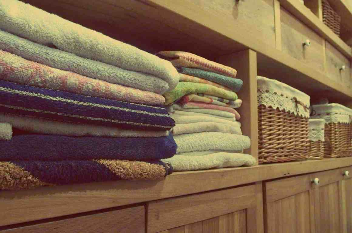 Towels on a shelf