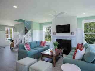 Pastel coloured lounge