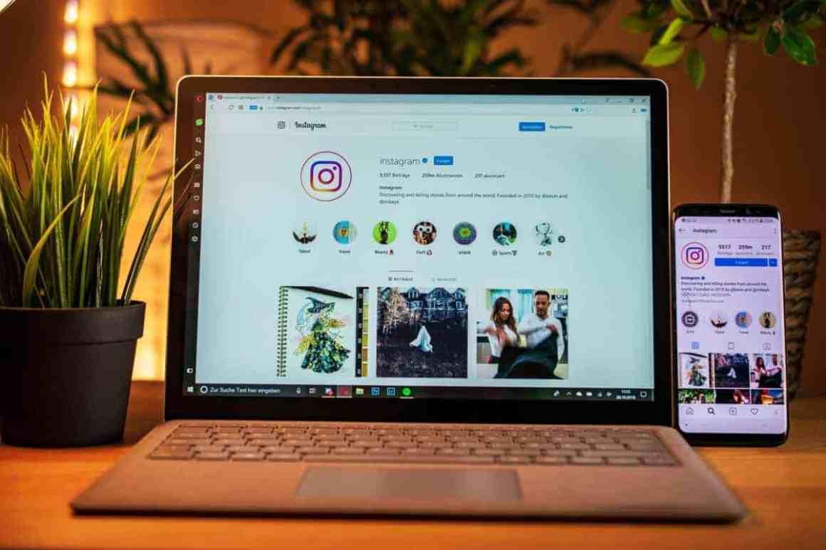 Instagram on a laptop