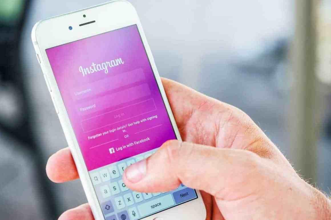 Instagram login screen on mobile phone