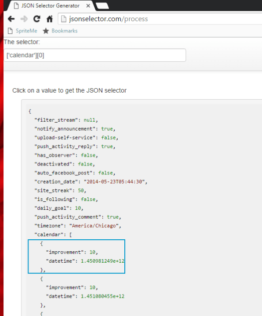 The JSON Selector Generator at work!