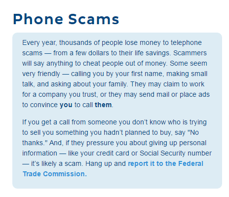 FTC phone scams page
