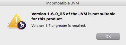 unsuitable JVM
