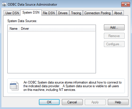 ODBC Data Source Administrator