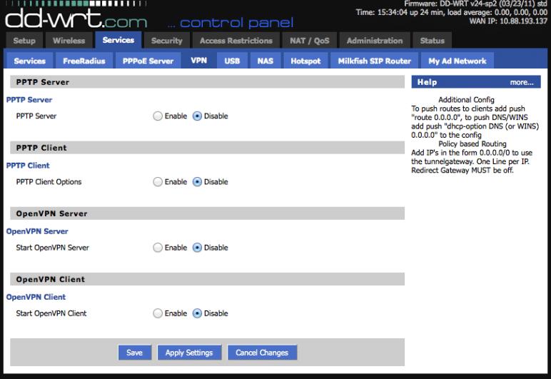 DD-WRT control panel, Services --> VPN