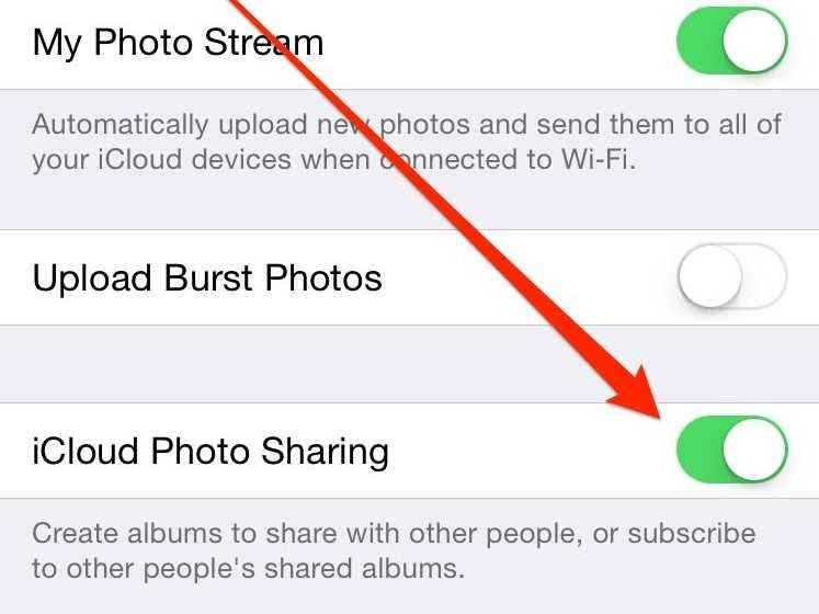iCloud Photo Sharing in iOS Settings. Image Credit: Business Insider http://static2.businessinsider.com/image/54591934ecad04974f8b4567-747-560/icloud-photo-sharing.jpg