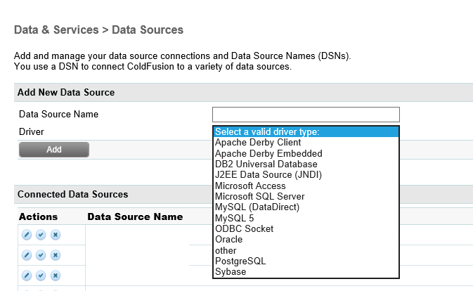 ColdFusion Data Source Management page