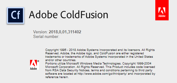 ColdFusion 2018 about screen