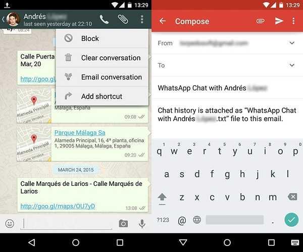 نقل WhatsApp من Android إلى iPhone عبر دردشة البريد الإلكتروني