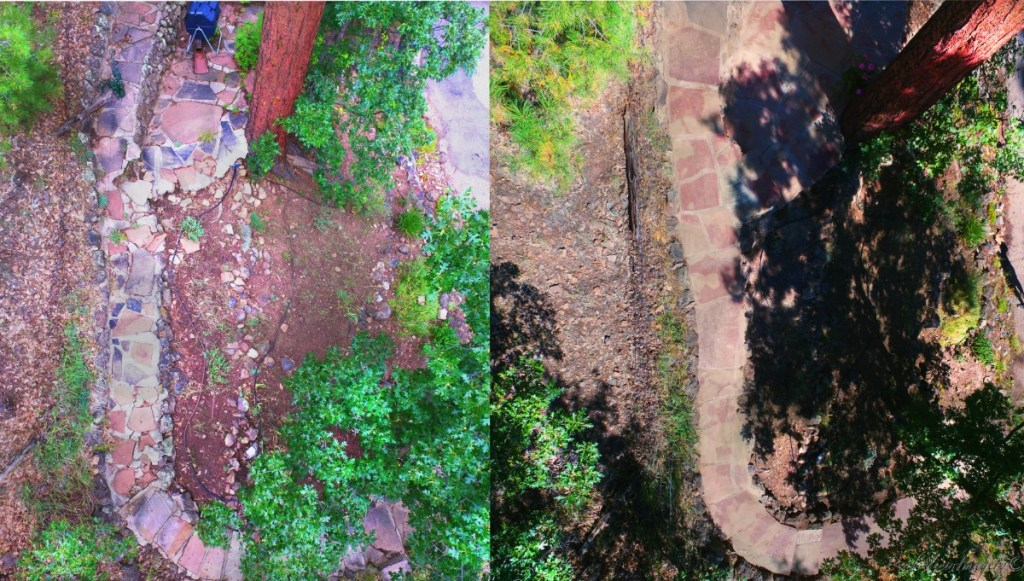 Before and after aerial pictures of the rehabbed flagstone walkway