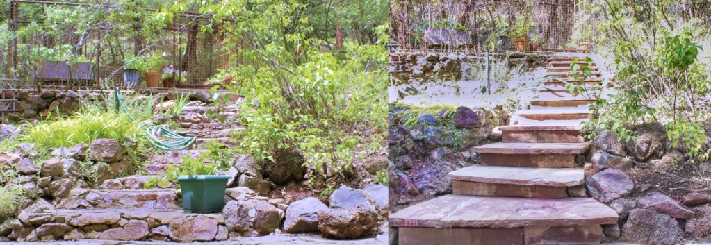 Before and after pictures of the new flagstone stairs leading to the garden