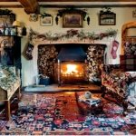 English country cottage gathering room, fireplace, Christmas decorating